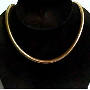 c.'40s-'50 CORO Thick Gold Tone Snake Chain Choker